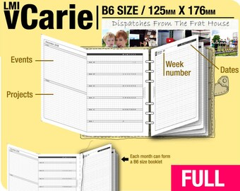 FULL [B6 vCarie Weekly Planner] January to December 2018 - Filofax Inserts Refills Printable Binder Planner Midori.
