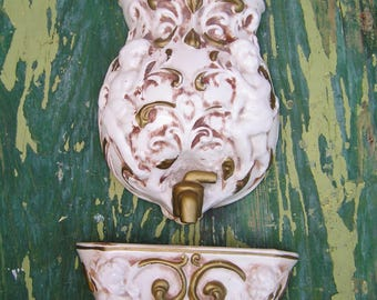 Vintage Retro 2 Piece Ceramic Lavabo in White and Gold with Cherubs Design Made by Chase in Japan Ceramic Hanging Water Fountain Wall Decor