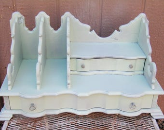 Vintage Sea Cottage Green Chippy Paint Desk Top Secretary With Two Drawers Wood Desk Organizer Desk Caddy Cottage Chic Organizer