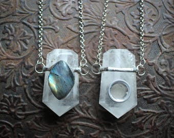 Crystal Pipe Necklace - The Shaman's Universe #1 - Clear Quartz with Labradorite