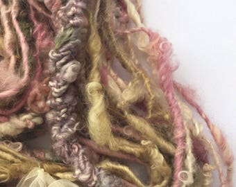 Hand spun yarn - super textured kinks and curls super bulky - art yarn -  crochet weaving knitting felting