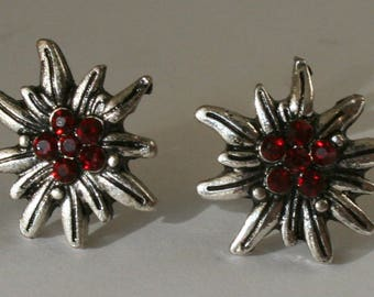 Edelweiss - Studs with rhinestones red color