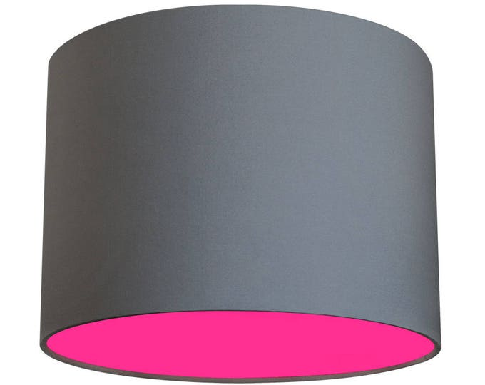 "Bright & Brilliant Grey Fabric with Pink Neon 12"" Shade!"