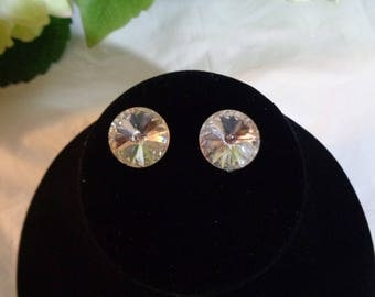 15mm Clear Crystal Rivoli Rhinestone Clip on Earrings   Bride Bridesmaid Prom Party