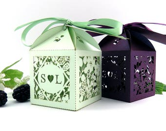 Blackberry rustic wedding favor box, Laser cut wedding favour box, Country garden personalised favour, Summer wedding table decor