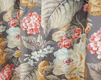 """INDOOR 1 Pair Custom Either Flat Rod Pocket OR Grommet Curtain Panel Drapes in Designer Waverly Floral Flourish Clay 50""""W x Selected Length"""