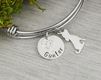 Adjustable Bangle Bracelet with Pets Name and Dog Charm - Stacking Bangles