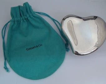 """Vintage TIFFANY & Co 925 Sterling Silver Large Heart Box By Elsa Peretti 4"""""""