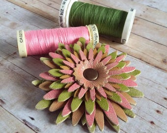 Leather Flower Brooch, Leather Jewellery, 3rd Anniversary Gift, Handpainted Flower, Gerbera Style, Leather Pin, Peach, Pink, Lime Green