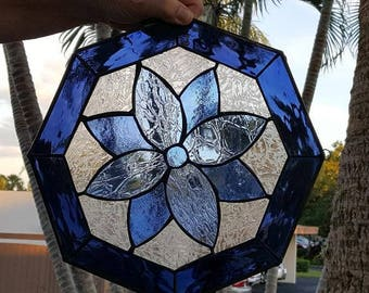 Brilliant Blue Octagon Stained Glass