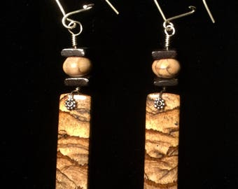 Picture jasper, dark wood and sterling Silver earrings