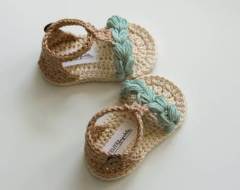 KORA Boho Baby Sandals, Natural Baby Shoes, Mint Beige Cream, Crochet Baby Shoes, Made to Order in Sizes: 0-3,3-6,6-9,9-12 months