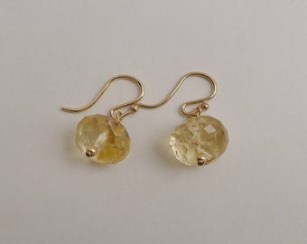 Faceted Citrine Gemstones and Gold Earrings