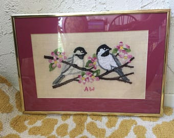 Hand-Embroidered Vintage Framed Birds & Flowers Cross Stitch