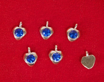 "BULK! 50pc ""blue sapphire"" heart rhinestone charms in antique silver style (BC1346B)"