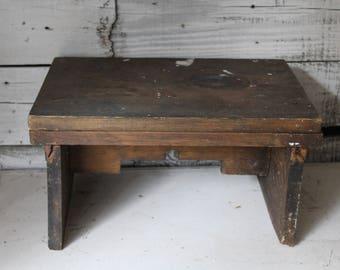 Vintage Wooden Stool, Antique Milking Stool, Primitive Wooden Step Stool, Vintage Wedding Prop, Porch or Garden Decor, Rustic Wooden Stool