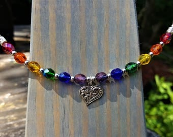 Love Rainbow Memory Wire Choker