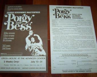 Porgy And Bess ~ George Gershwin ~ Vintage Handbill ~ Kennedy Center ~ Play & Theater Memorabilia
