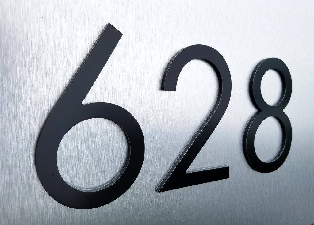 4 39 39 black modern house numbers stud mounted address for Minimalist house numbers