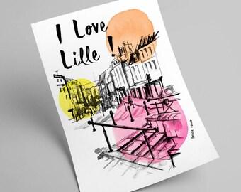 A4 - square Lille - illustration print