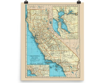California Surf Poster Print - California Surfing Spots, map of California Beaches