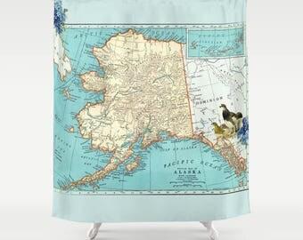 Alaska Map Shower Curtain - Ptarmigan, forget me not, aqua, teal Vintage Alaska, shore, coastal, decor, Alaska State map