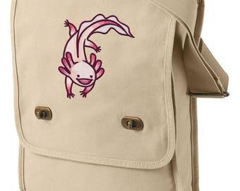 Adventurous Axolotl Embroidered Canvas Field Bag