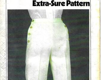 """Simplicity 9056        Vintage Misses """"Sailor"""" Look Pants with Side Button Detail      Size 6,8,10      Uncut"""