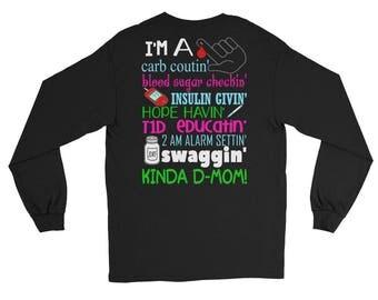 Diabetic mom Long Sleeve shirt, blood sugar checking mom shirt, insulin giving shirt, insulin shirt, proud mom shirt, diabetes mom shirt