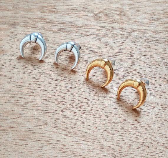 Metal Double Horn Stud Earrings / Crescent moon Silver Plated or Gold Plated Earrings / Handmade Boho Earrings