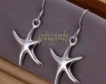 sterling silver star fish earrings, silver starfish earrings, dangle earrings in silver, starfish jewelry, earrings jewelry