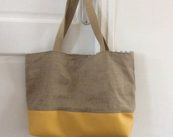 Linen and yellow faux leather bag