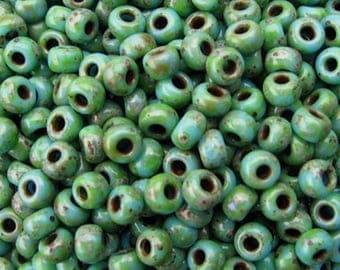 20 glass - OpaqueTurquoise Blue Picasso Miyuki seed beads-