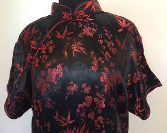 Black and Red Chinese Cheongsam Dress - XL