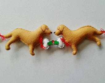 Golden Retriever Christmas Decoration, Golden Retriever Garland, Wool Felt Golden Retriever, Dog Christmas Bunting, Dog Decoration