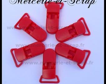 5 ties 22mm red plastic pacifier crocodile 017