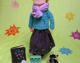 papier mache hand-made artistic/collectable Celina doll with accesssories and cat