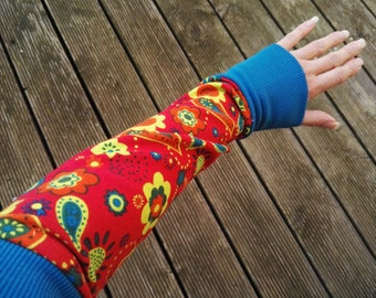 Warmers cuffs Sweat red colored blue