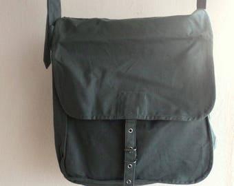 Vintage Military Canvas Shoulder Bag, Green Canvas Messenger Bag/Cold War Soviet union/ 1970s
