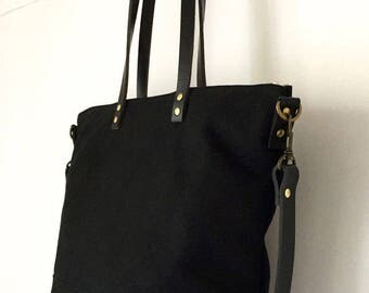 "SALE 37.50 OFF | REG. 150usd | Carrier Tote | Waxed Canvas Leather | Diaper Bag, 13"" Laptop 