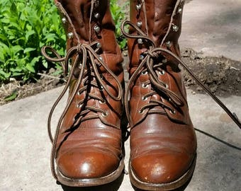 Vintage Womans Justin Lace Up Roper Style Boots Brown Leather Western Boho Cowgirl Ranch Rough Work Boots Well Loved with Lots of Life Left