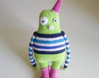 Amigurumi Green Monster Lovey Doll, mercerised cotton, crocheted. 32cm/12,6in