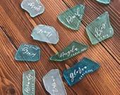 Sea glass placecards // unique place cards // sea glass // escort cards