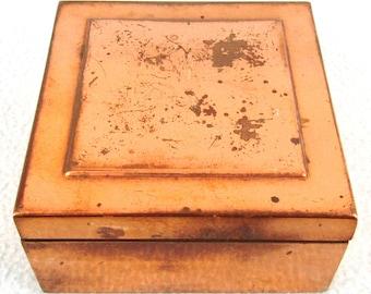 Vintage Cigarette Box, Copper Box, Square Shape, Storage Box, Tarnished Metal, Gilded Copper, Rustic Charm, Entrance Room, Key Box, Coins