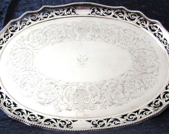 Stunning Antique Tray, Large Tray, Oval Serving, Silver Plate, Heraldic Crest, Pierced Gallery, Georgian Style, Quality Antique, Handled