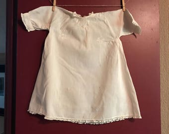 Vintage 1920s Baby Dress with Embroidered Details and Side Pleat