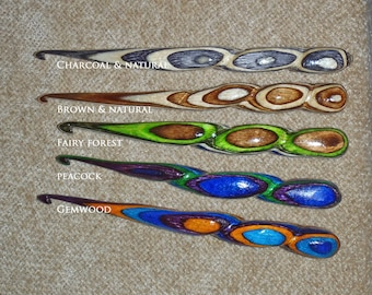 "Crochet hook Wand, 5 1/2"" ,  hand spiral shaped of Resinwood Low density LD (lighter) spiral handle. choose size and color"