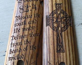 1911 Grips Zebra Wood Psalms 82:4 Cross Design Full Size