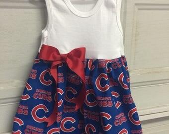 A beautiful handmade baseball dress Chicago cubs