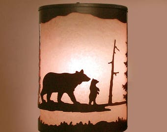 Rustic Light Bear Wall Sconce Lamp Cabin Pine Tree Lighting Right Facing